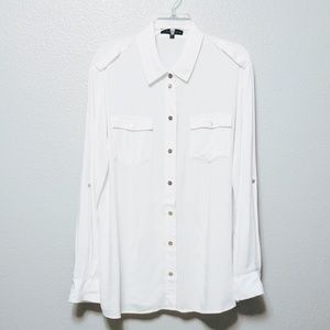 Sanctuary: White Metal Snap Front Button Blouse